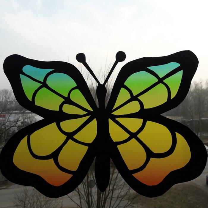 Motyl-witraż zpapieru - wiosenna dekoracja naokno