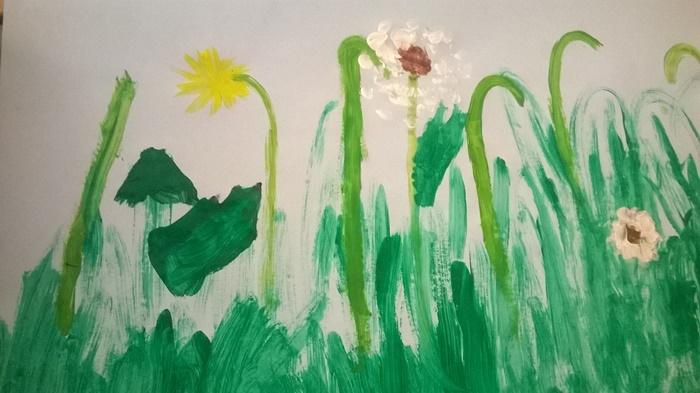 Znalezione obrazy dla zapytania: łąka malowana farbami przedszkole