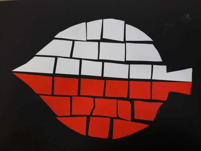 Biało-czerwona mozaika-praca dziecka