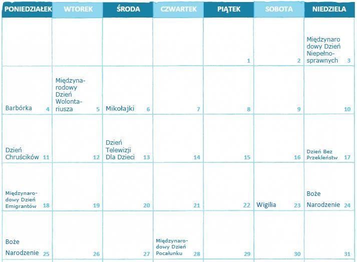kalendarz świąt nietypowych