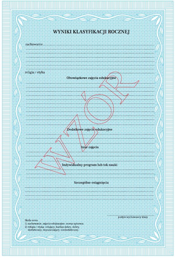 Ocena opisowa wklasach I-III - świadectwo - wzór