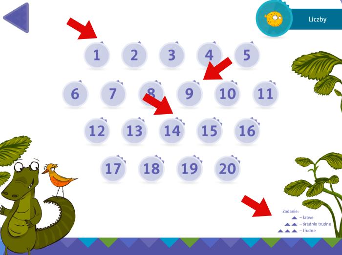 Zabawy interaktywne - 3 poziomy trudności