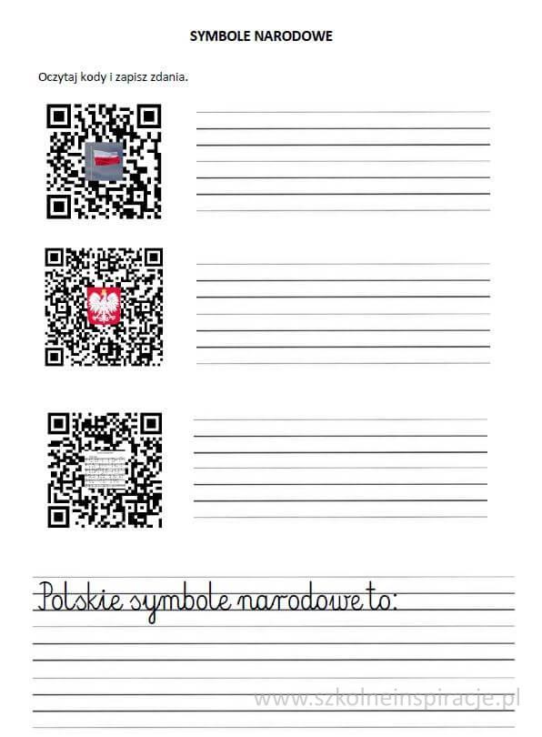 Polskie symbole narodowe-kodyQR