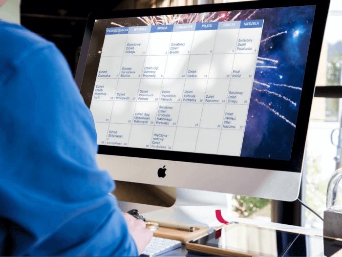 Tapeta napulpit zkalendarzem świąt nietypowych