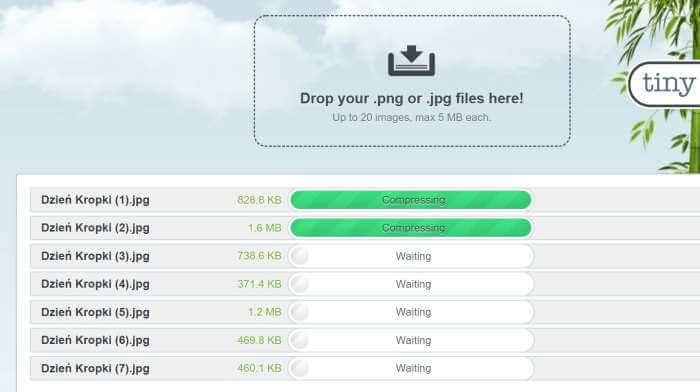 Procentowe zmniejszanie wagi kilku zdjęć naraz.