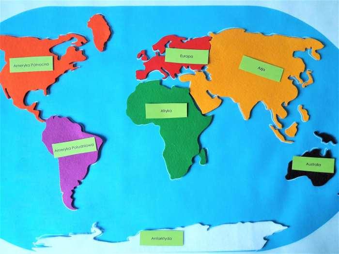 Poznajemy kontynenty-mapa Montessori